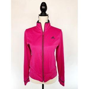 ADIDAS Pink Full ZIP Warm Up Jacket 3 Stripe Sz S